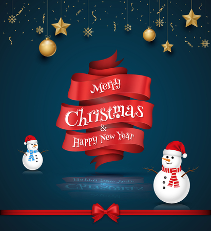 Merry Christmas and Happy New Year lettering card