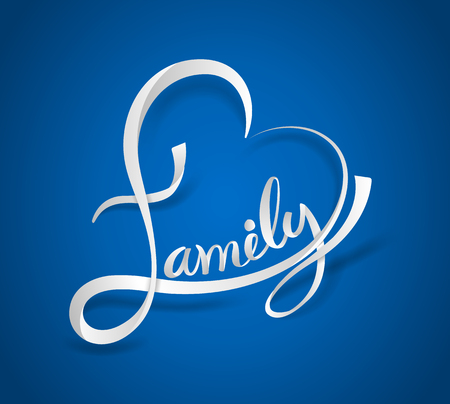 Family lettering heart shaped white ribbon style on blue background. Vector illustration.