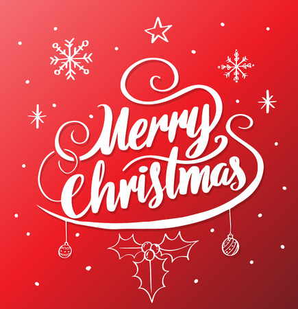 Merry Christmas lettering on red vector illustration for greeting card and poster promotion New Year event