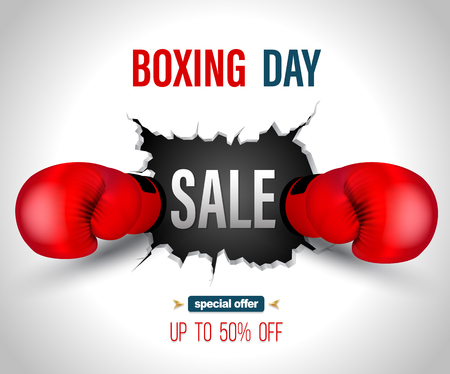 Boxing day sale on crack wall with punch poster template. Vector illustration for promotion advertising. Иллюстрация