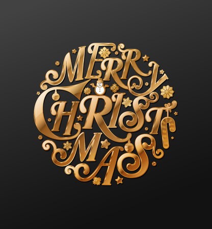 Merry Christmas in circle art vector illustration for element Christmas event advertising and greeting card.