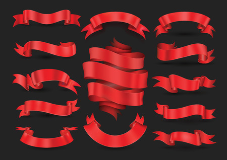 Red ribbon banners collection for illustration Holiday poster and card. Vector element for Christmas New Year and Birthday.