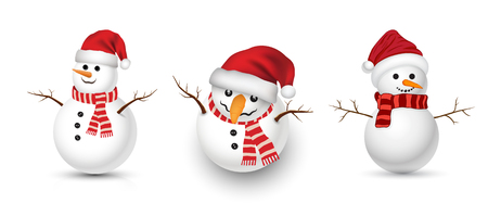 Funny snowman set vector illustration for Christmas and New Year poster card and advertising promotion