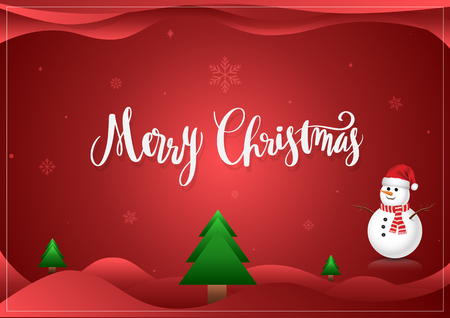 Merry Christmas lettering and snowman greeting card Çizim