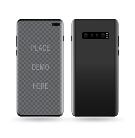 Realistic smartphone mockups. Stock vector illustration web element, Game demo and application mockup and  easy place demo into screen.