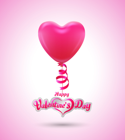 Balloon heart for love event poster and card valentines day Çizim