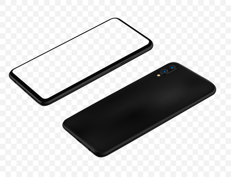 Smartphone mockup vector illustration for technology advertising element and easy place demo on screen. Ilustrace