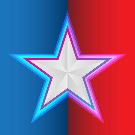 Star on blue red background vector illustration for flight Çizim