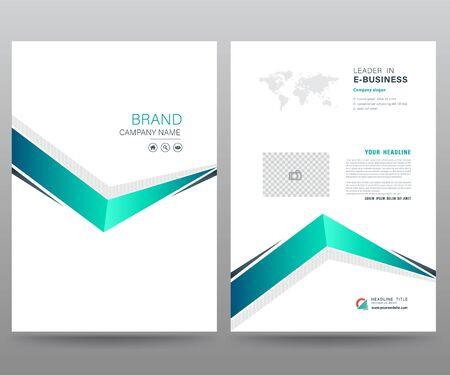 Modello di relazione annuale brochure flyer design stile moderno. illustrazione vettoriale, utilizzare per la presentazione della copertina del volantino astratto sfondo piatto, layout in formato A4 Vettoriali