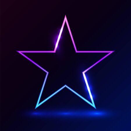 Star pink blue light on dark background vector illustration for promotion and event element. Çizim