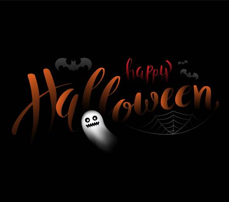 Happy Halloween on background with bat and spider web. Vector illustration for Halloween party poster and greeting card element. Çizim