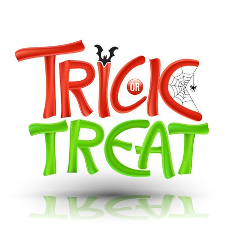 Trick or Treat on background with bat and spider web. Vector illustration for Halloween party poster and greeting card element. Çizim