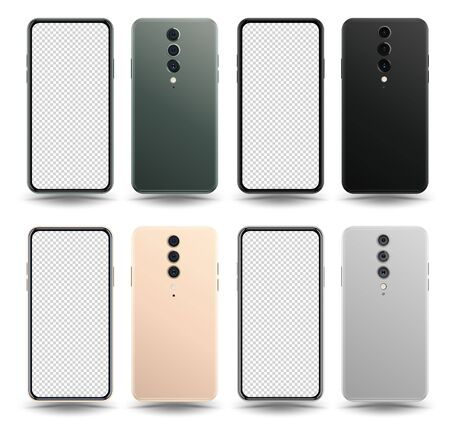 New realistic mobile phone smartphone collection mockups with blank screen isolated on white background. Vector illustration for printing and web element, game and application mockup.