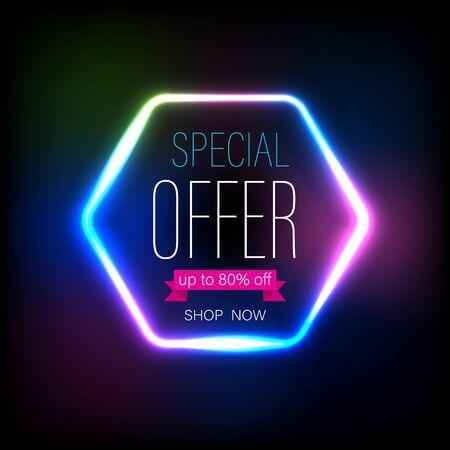 Flash sale banner light on dark background for promotion element advertising. Vector Illustratie