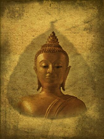 Picture of Buddha in old grunge antique paper photo