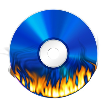 burner: Blue DVD with fire burning on white background