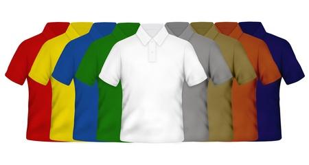 polo: Kleur Poloshirts op een witte achtergrond Stockfoto
