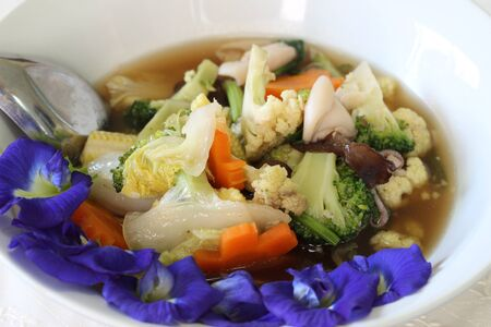 wider: Stir-fried mixed vegetable, wider view Stock Photo