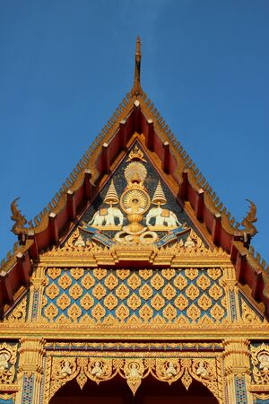 Buddhist Thai Church - front face view Stock Photo