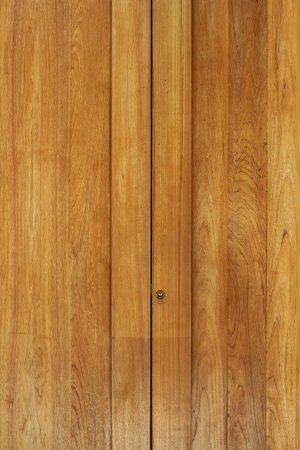 Teak wood door, closed-up view
