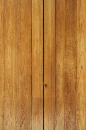 Teak wood door, closed-up view