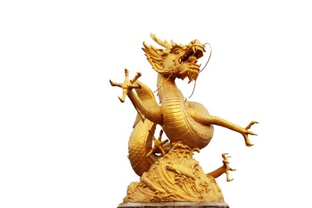 Golden Dragon statue with white background