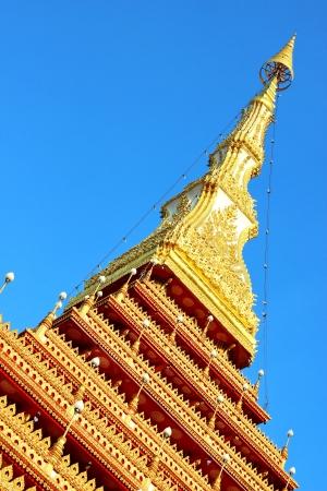 Pagoda at Nong Waeng temple, Thailand, inclinded view