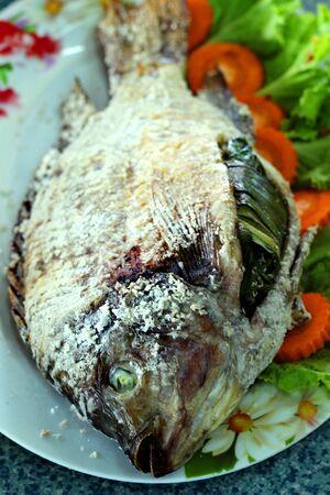 Thai food, burn salted river fish Stock Photo