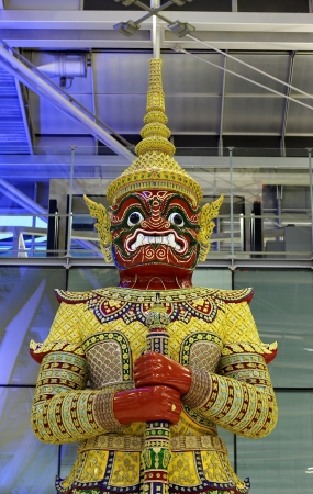 Giant statue at Suvannabhumi air port, Samuprakarn, Thailand Stock Photo