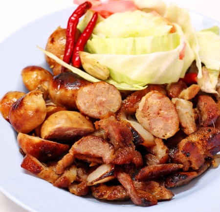 Pork sausage and fried pork