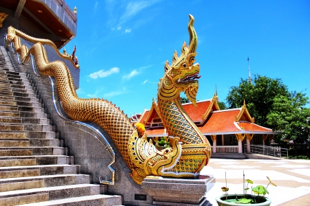 Thai Naka statue at pagoda
