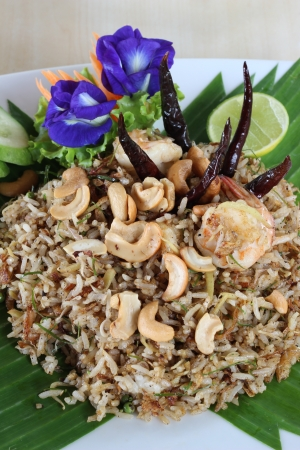 Thai fried rice with shrimp and herb Stock Photo