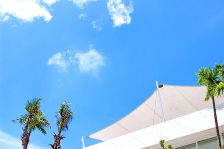 Fabric shade and blue sky on shiny day