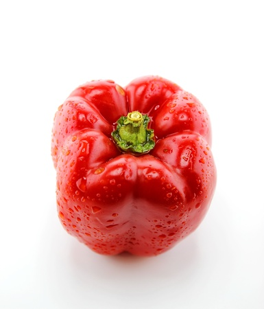 Fresh red apple on white background top view