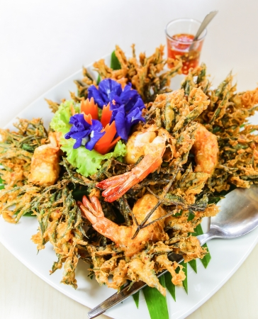 phuket food: Thai food, grass wig fried with shrimp served with special sauce
