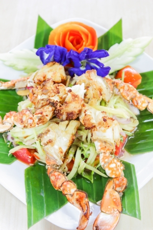 crap: Thai seafood, crap salad with flower decoration Stock Photo