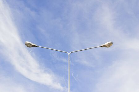 Street lights with blue sky background photo