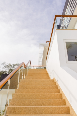 Main Stair, With Sand Wash Finishes, Leading To Ground Floor With Twilight  Blue Sky
