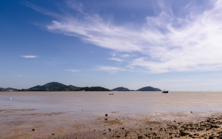 Low tide beach at late morning, Sapaanhin, Phuket, Thailand photo