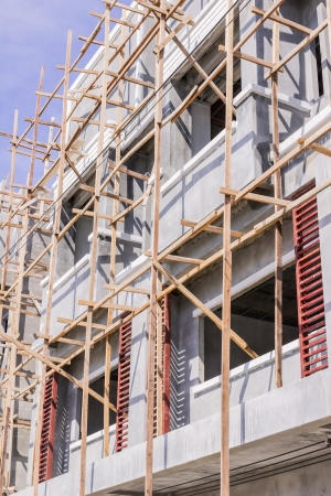 Wooden scaffolding for construction site