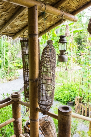 Bamboo fish trap at demonstrated cottage photo