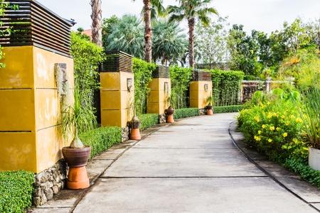 Wooden walkway in tropical botanic garden Stock Photo
