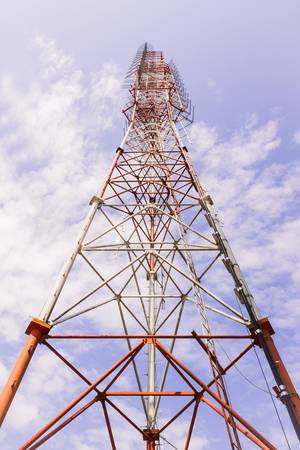 Broadcast radio tower view from bottom Stock Photo