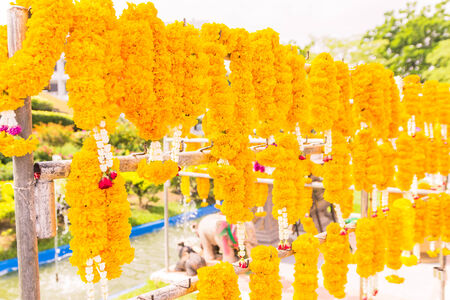 of homage: Marigold flowers garland for paying homage to place of worship Stock Photo