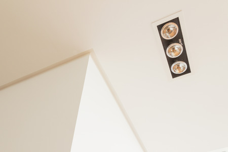lighting fixtures: Construction details: lighting fixtures ceiling groove and wall cornerair grilles on false ceiling