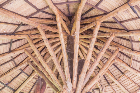 the sun and shade: Roof structure details of straw umbrella sun shade in garden, Thailand Stock Photo