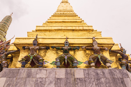 kaew: Demon Guardian at the Emerald Buddha temple or Wat Phra Kaew , Bangkok, Thailand. It is landmark and well-known destination for most tourists Stock Photo