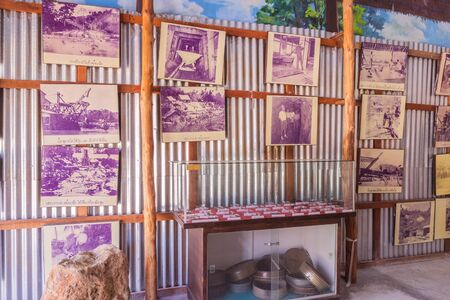 demonstrated: Phuket, Thailand - Mar 26, 2016 : A lot of history pictures of tin mining business  demonstrated at Phuket Mining Museum, Thailand.
