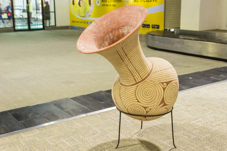 demonstrated: Udornthani, Thailand - Aug 19, 2016 : The replica of Ban Chiang earthenware demonstrated at Udornthani International airport