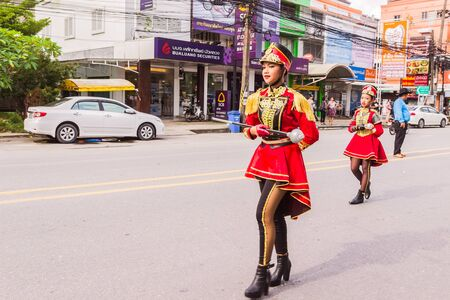yearly: Phuket, Thailand - Aug 26, 2016 : Cheerleader and parade of various schools in Phuket province on opening ceremony of yearly provincial sport. Editorial